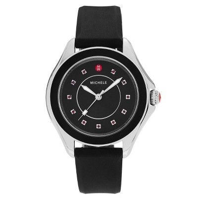 Women's Michele MWW27A000006 Cape Stainless Steel Topaz Silicone Strap Watch - Black
