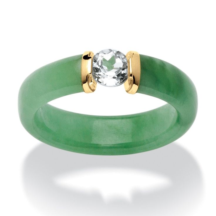 Round White Topaz and Genuine Green Jade 10k Yellow Gold Ring:
