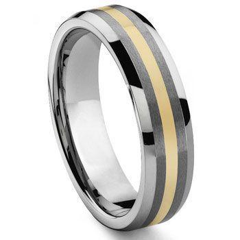 Regal 6mm Tungsten Carbide 14k Gold Inlay Wedding Band Super Fine