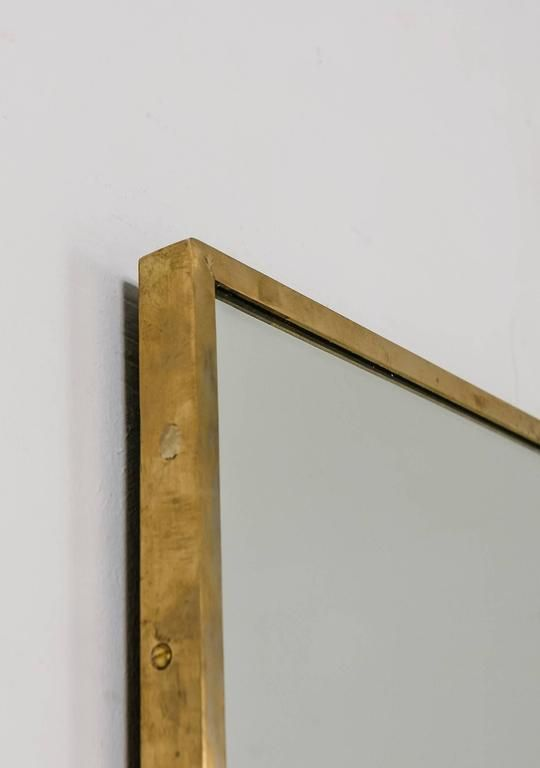4e8d40981e961 Mid-Century Modern Large Rectangular Brass Wall Mirror