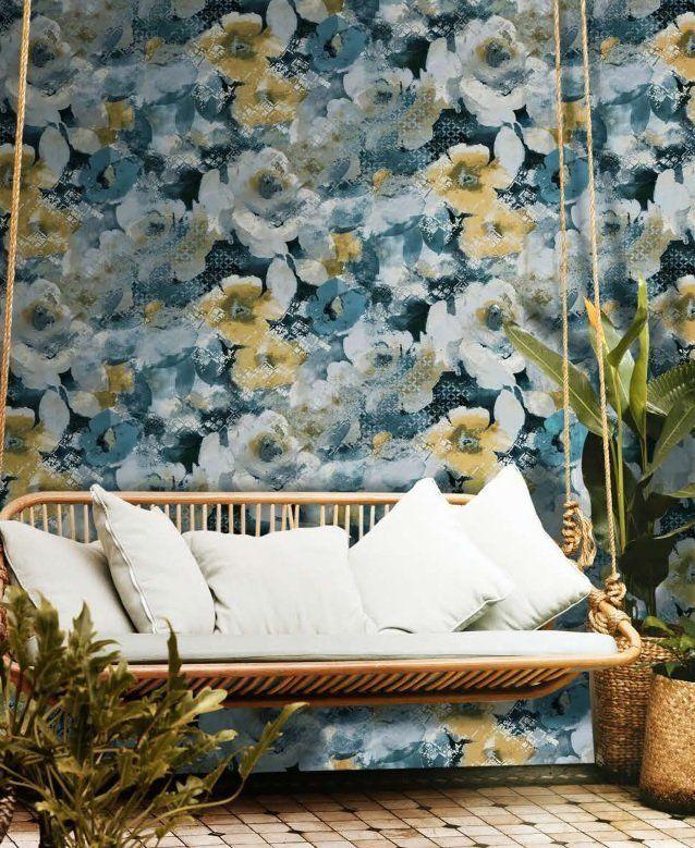 Tapeta Winylowa Zmywalna W Piekne Kwiaty Wallpaper Wallpaper Decor Blue Decor