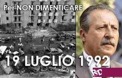 19 luglio: 20 anni fa la strage di via d'Amelio in cui persero la vita il giudice Paolo Borsellino e la sua scorta