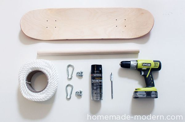 How to: Make a Skateboard Swing | Man Made DIY | Crafts for Men | Keywords: DIY, toy, skateboard, nostalgia