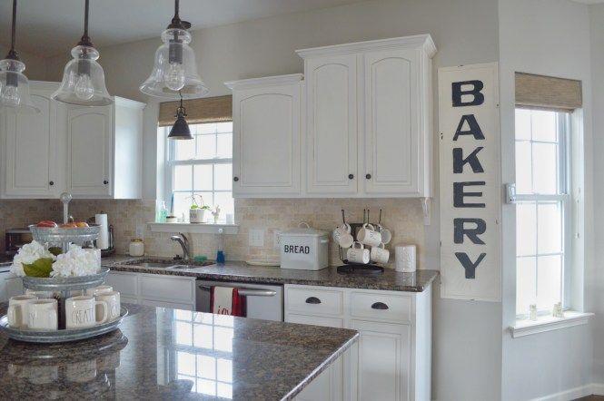 Farmhouse Style Kitchen White Cabinets Rae Dunn Sherwin