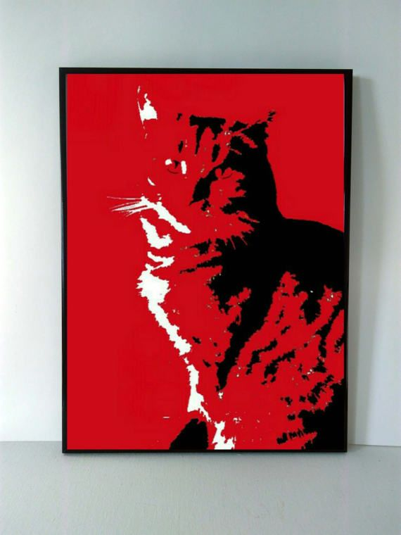Digital art print Cat in red Download print by PaintingByAHeart