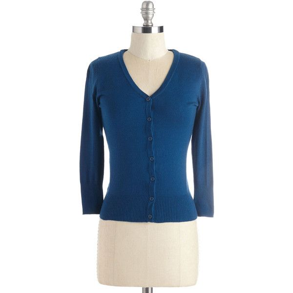 Nautical Mid-length 3 Charter School Cardigan ($40) ❤ liked on Polyvore featuring tops, cardigans, apparel, blue, sweaters, three quarter sleeve tops, v neck 3/4 sleeve tops, blue top, nautical cardigan and ribbed cardigan