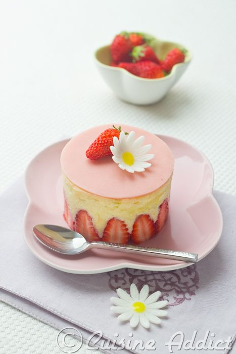 Japanese Fraisier (Strawberry cake) with Yuzu & matcha