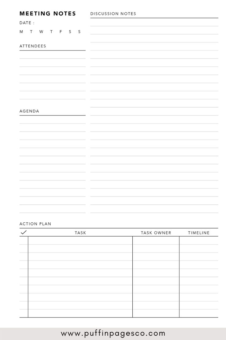 PDF Meeting Notes template for online meetings and