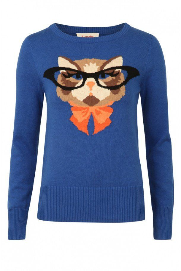 Louche Kat The Cat Blue Intarsia Jumper