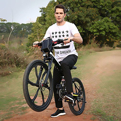 Folding Electric Mountain Bike with 26″ Super Lightweight Magnesium Alloy 6 Spokes Integrated Wheel, Large Capacity Lithium-Ion Battery (36V 250W), and Shimano Gear (UK STOCK) (Black)