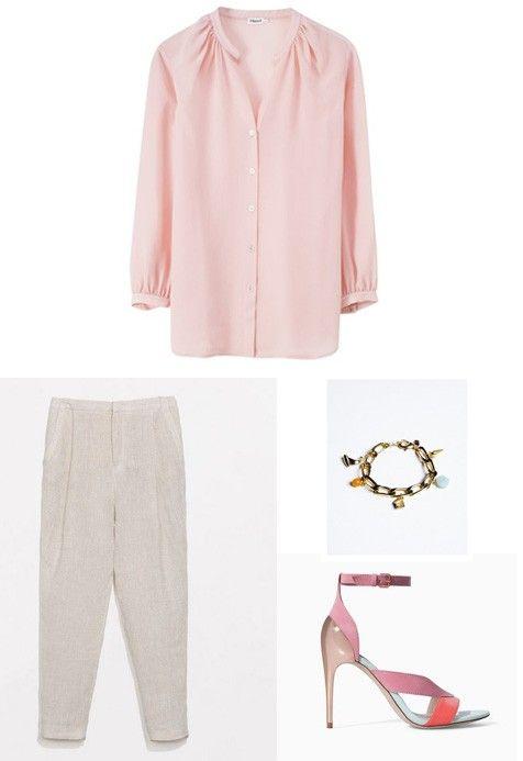 Wat trek je aan om naar een zomerse bruiloft te gaan? - KnackWeekend.be  Voor de stijlvolle gast met een voorliefde voor goud én roze. Roze blouse van Filippa K (130 euro), grijze broek van Zara (39,95 euro), roze sandalen met hak van Zara (39,95 euro) en armband van Atelier 11 (173 euro).
