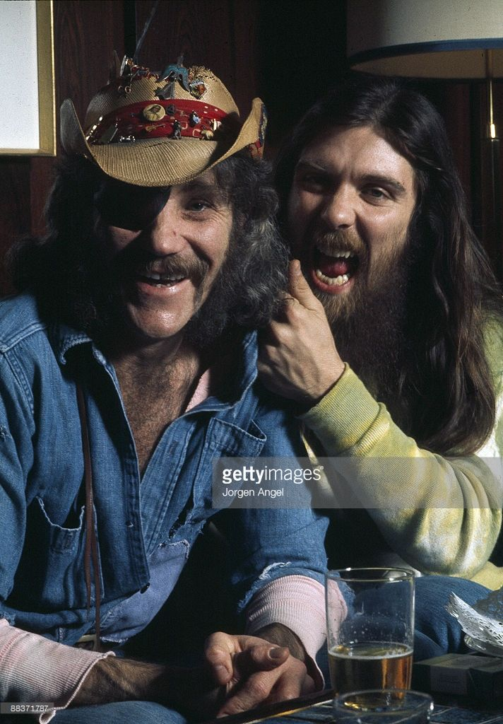 Ray Sawyer and Dennis Locorriere of the American group Dr Hook pose together in April 1974