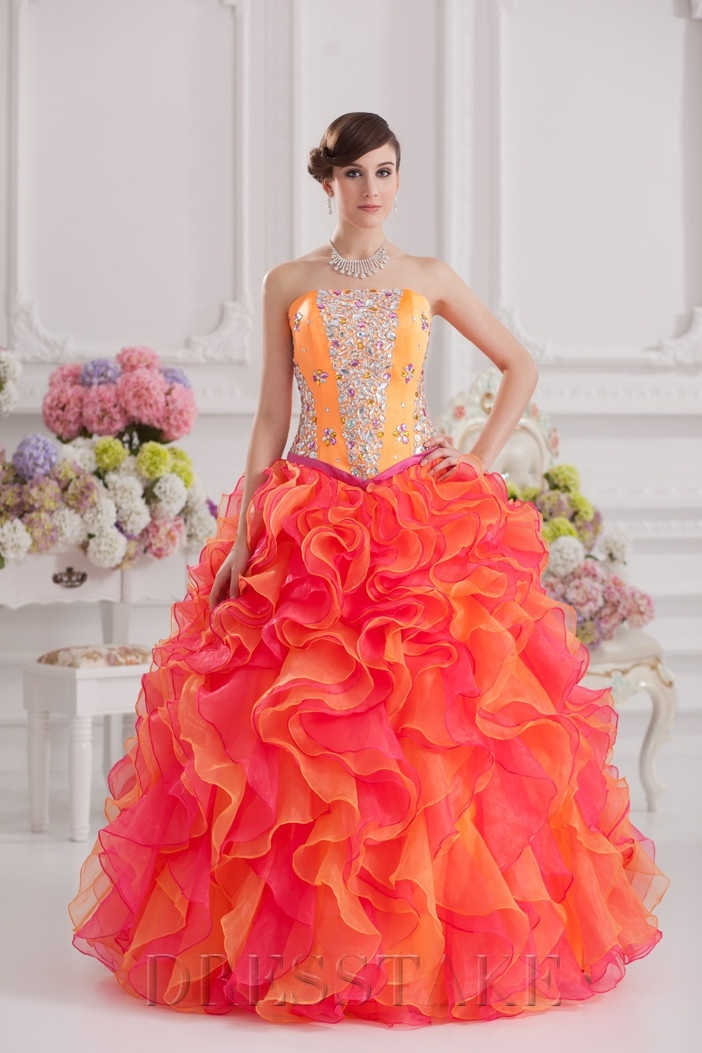 Charming Ball Gown Floor-length Strapless Zip-up Organza Orange Quinceanera Dresses
