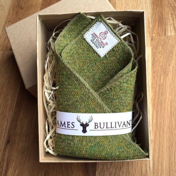 Harris Tweed Pocket Square Green by JamesBullivants on Etsy