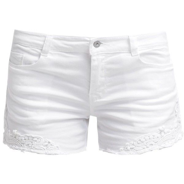 ONLY ONLCARRIE Denim shorts ($24) ❤ liked on Polyvore featuring shorts, bottoms, pants, short, white, white jean shorts, short shorts, tall shorts, zipper shorts and jean shorts