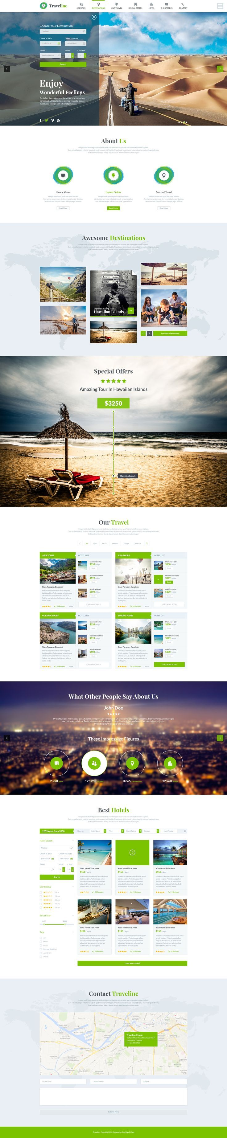 Traveline | Booking PSD Template. If you like UX, design, or design thinking, check out theuxblog.com