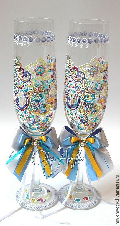 """Купить Свадебные бокалы """"Прихоть Невесты - 2"""". Роспись по стеклу - свадебные бокалы, бокалы для свадьбы"""