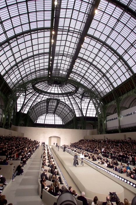 chanel fashion show in the grand palais catwalk. Black Bedroom Furniture Sets. Home Design Ideas