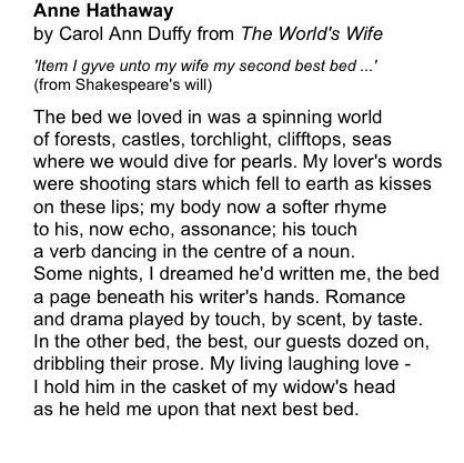 Anne Hathaway by Carol Ann Duffy