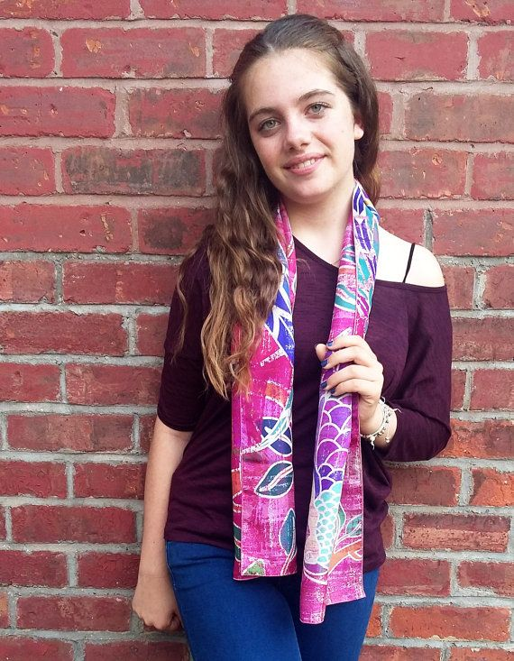 Dark pink silk scarf, ruby burgundy scarf, stylish designer bird print scarf, lightweight scarves