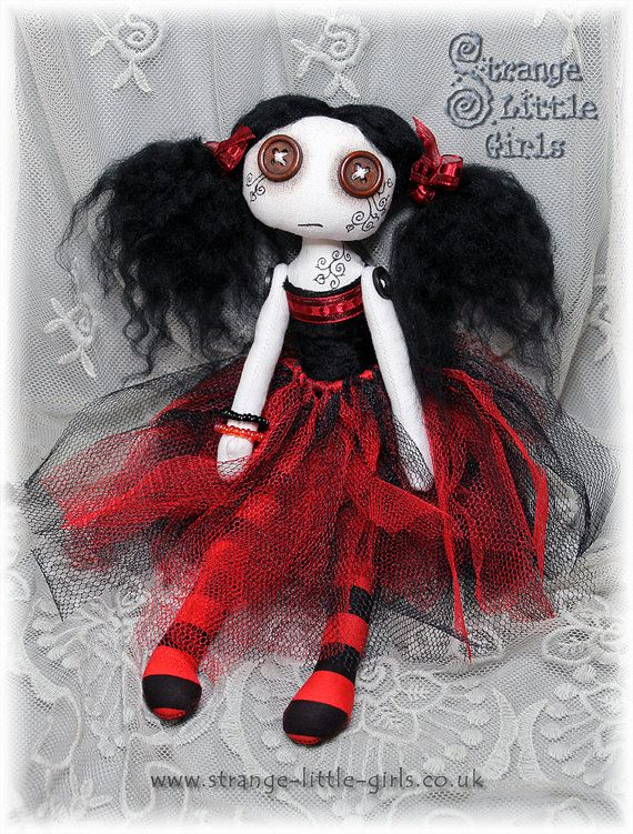 OOAK Button-eyed Gothic cloth art doll in red and black - Della Darkwood #Gothic #doll #buttoneyes https://www.etsy.com/listing/218617439/ooak-button-eyed-gothic-cloth-art-doll