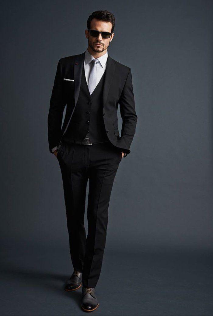 joli costume homme gris foncé, costard homme pas cher gris anthracite