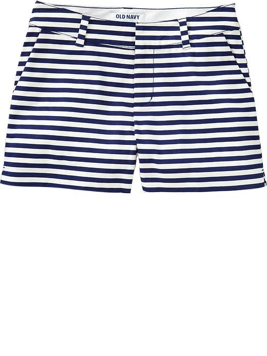 Patterned chambray shorts // Old Navy: Patterns Shorts, Navy Shorts, Chambray Shorts, Navy Stripes, Old Navy Women, Strips, Closet, Patterns Chambray, Stripes Shorts