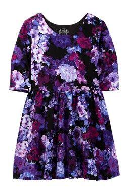 Floral Knit Skater Dress (Big Girls)