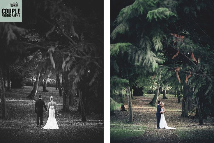 The bride & groom take a walk among the beautiful trees at Castle Durrow. Weddings at Durrow Castle photographed by Couple Photography.