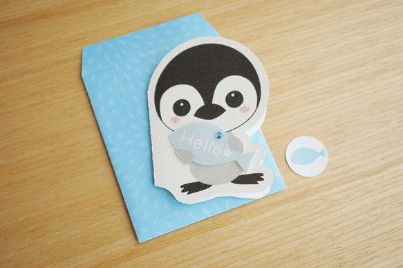 オリジナルイラスト【ペンギン】のメッセージカードです。封筒とシール付き。封筒サイズは約90㎜×約75㎜。カードは封筒に収まる大きさです。 ハンドメイド、手作り、手仕事品の通販・販売・購入ならCreema。