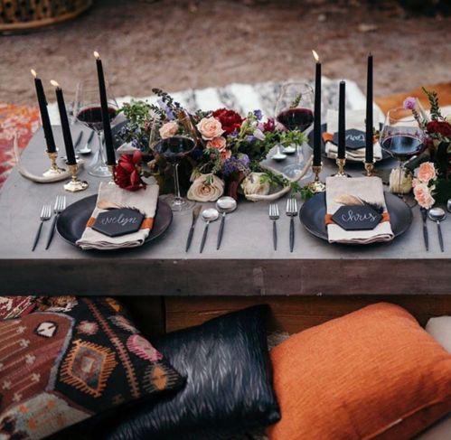 Table d'inspiration boho pour un mariage à Los Angeles