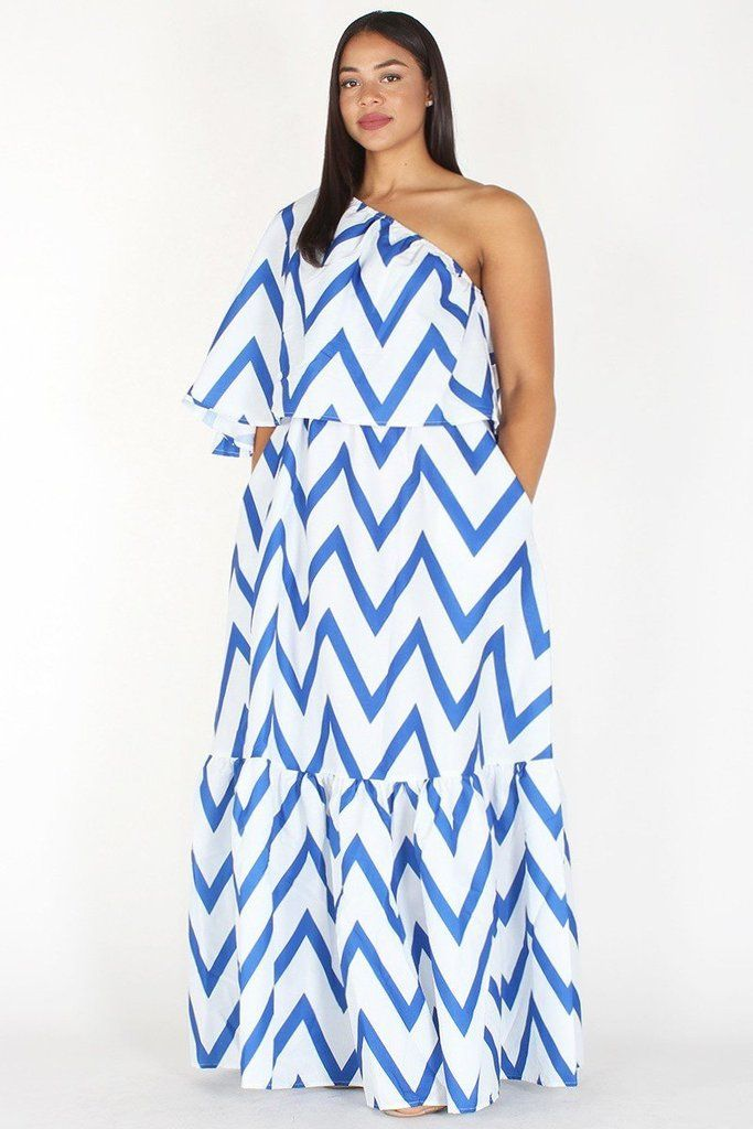 Plus Size Chevron Print Relaxed One Shoulder Maxi Dress in 2019 ...