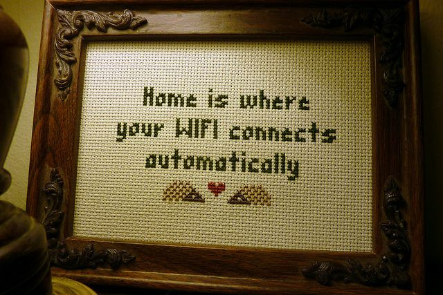 WIFI cross stitch by TwoHungryBlackbirds, via Flickr (another idea - a cross stitch with the guest network info!)