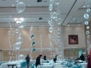 Balloon idea for swimming or under the sea party. The link doesn't work but I like the idea.