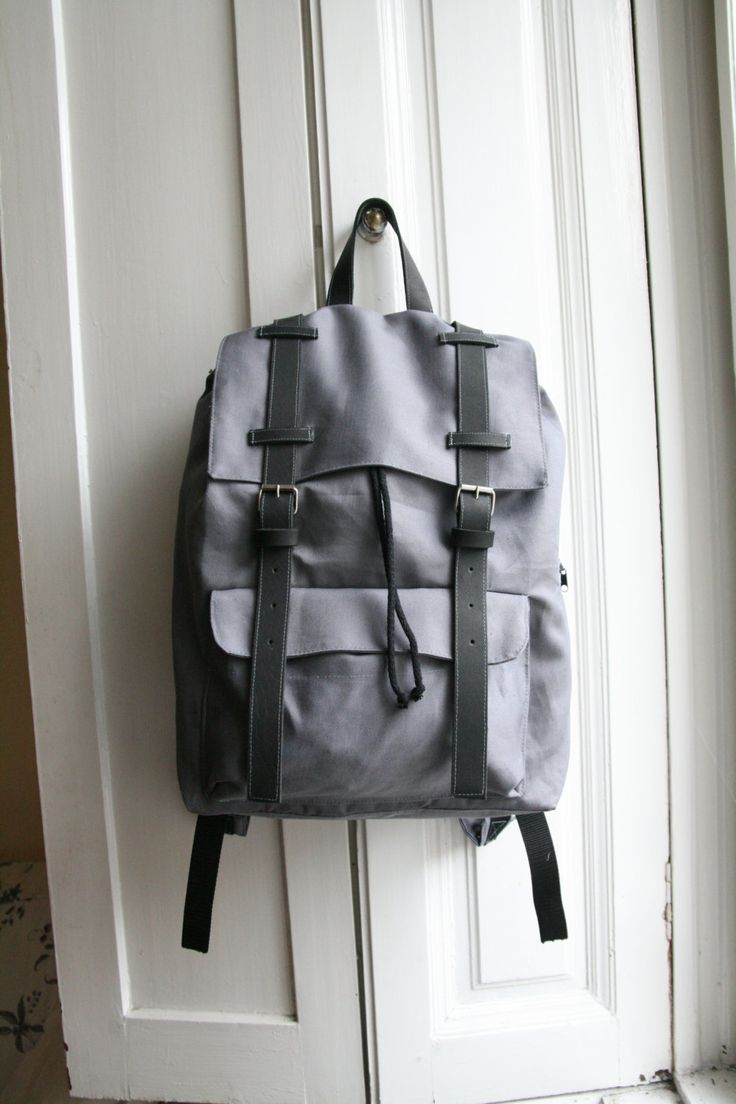 Gray Backpack Canvas Leather Unique handmade gift for College students, present for  women or man by DoboArt on Etsy