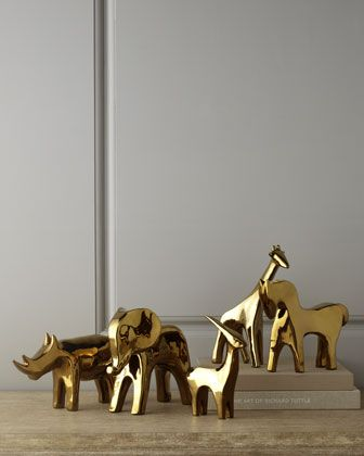 Golden Animal Sculptures - Dwell Studios