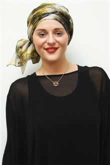 We LOVE our NEW Chrome Leaf long-tying silk turban scarf either 'dressed up' for evening or down in jeans for day - gorgeous however and wherever you wear it! See and shop this beautiful new addition to our scarves range! #chemo #chemotherapy #scarves #turbans #alopecia #style #fashion