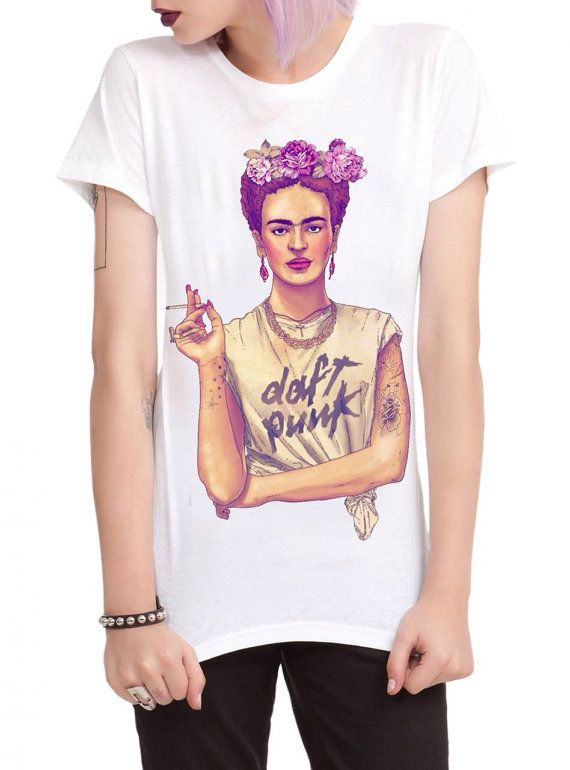 Frida Kahlo Daft Punk Womens T-shirt Tattooed by KreativEarth