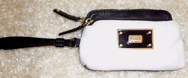 Steve Madden Dual Pocket Wristlet Wallet Faux Leather Regular Cell Phone  #SteveMadden #BoneBlackColorDoublePocketWristletWallet