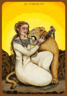 always felt connect to the strength tarot card. Partly because I always need to conquer my strengths, learn them, own them, and secondly the whole lion/ Leo connection. This one also looks a little Celtic. Plus!