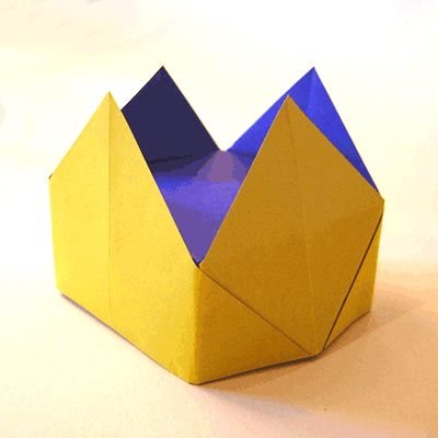 Paper Crown.  This took a bit of extra folding at the bottom to make it boxy