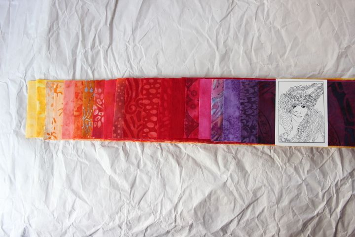 """Jelly Roll 20 Batikstreifen 2,5"""" x 43,5"""", rot-ora von stoefflerin auf DaWanda.com"""