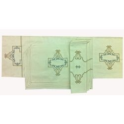 """Bling up your Dining Table with our Ultra-Luxurious Table Linen made in exquisite fabrics with mesmerizing designs.    St.Georges Table Linen Set - Complete 6 Seater Table Linen Set comprising of a 72""""x14"""" Table runner , 6 Tablemats in 12""""x18"""" size and 6 Napkins in 16""""x16"""" size in Rich Cotton Twill with Ecru & Silver Metallic Embroidery  Visit : http://www.ultra-snob.com/bling-up-your-table/st-georges-table-linen-set/p-2866466-98090574168-cat.html#variant_id=2866466-98090574168"""