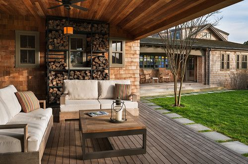 eclectic porch by Sandvold Blanda Architecture + Interiors LLC