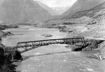 The Old Royal Engineers bridge, connecting the two sides over the Fraser River.