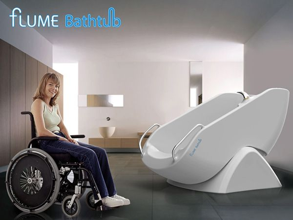 Flume Tub allows you to take a bath sitting up.