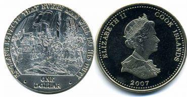 """Острова Кука 1 доллар 2007 """"Англия ждёт, что каждый человек выполнит то, что должен. Адмирал Нельсон на палубе."""
