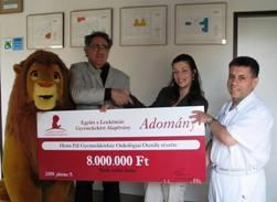 Az Együtt a Leukémiás Gyermekekért Alapítvány 2009.június 9-én 8.000.000 Ft-ot adott át a Heim Pál Gyermekkórház onkológiai osztályának többfunkciós betegőrző nővérriasztó-rendszer beszerzésre.
