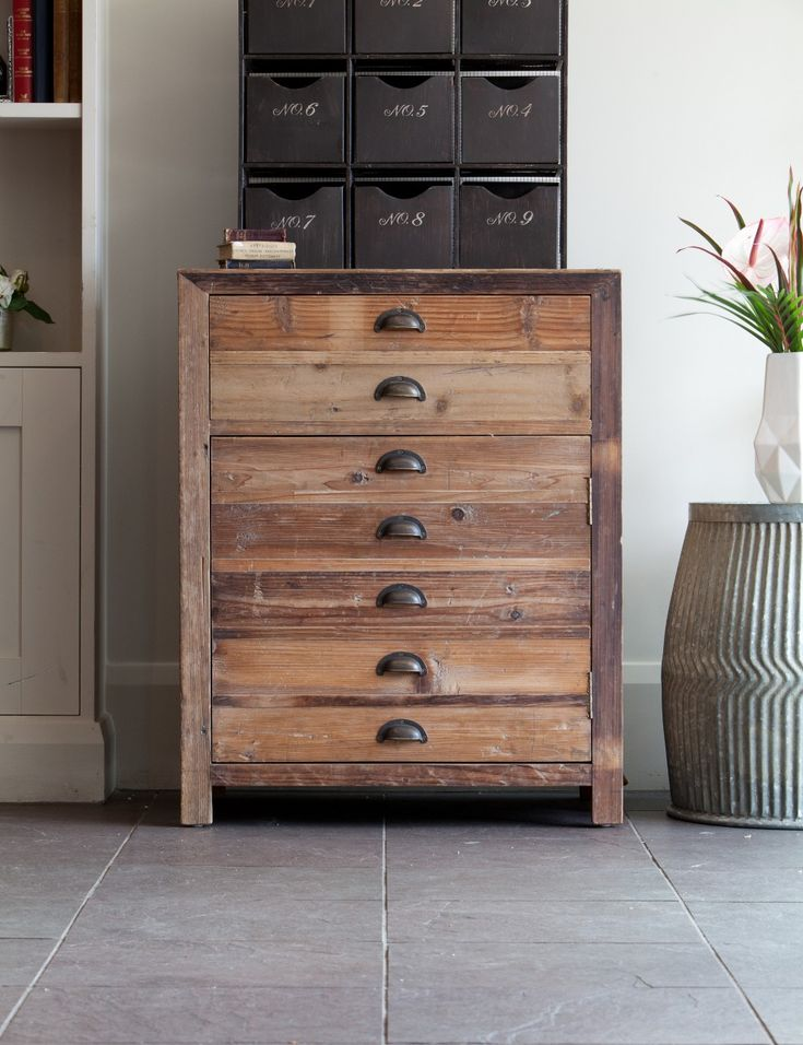 Add some rustic warmth to your kitchen, office, bathroom or lounge with this fabulous Scrubbed Pine Cupboard. Its clever design looks like a set of drawers but  is actually a generous sized cupboard with shelf and useful drawer,  with beautiful metal handle detail. Stand one against a wall, or place 2 or 3 together to make a fabulous sideboard for your workspace or kitchen.