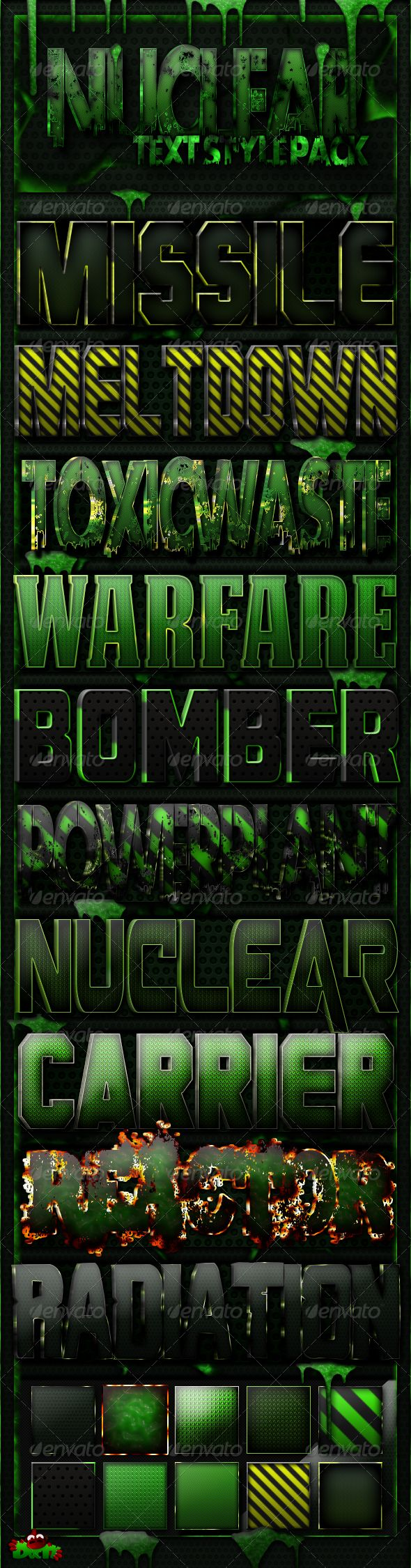 10 Nuclear Text Styles — Layered PSD #green metal #missle • Available here → https://graphicriver.net/item/10-nuclear-text-styles/6508749?ref=pxcr